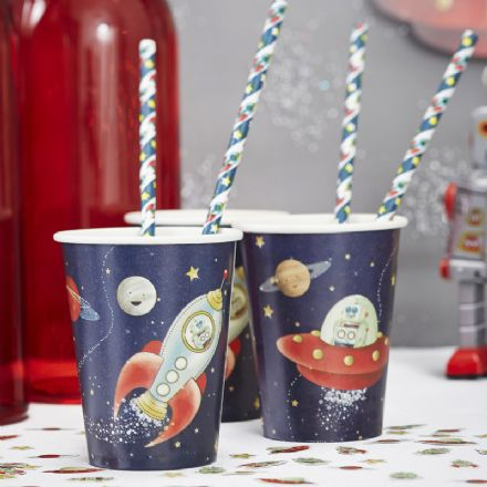 Space Adventure paper party cups - pack of 8